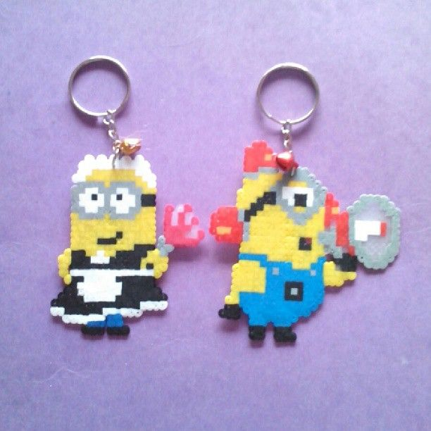 Minions keyrings hama beads by mel_pixelart