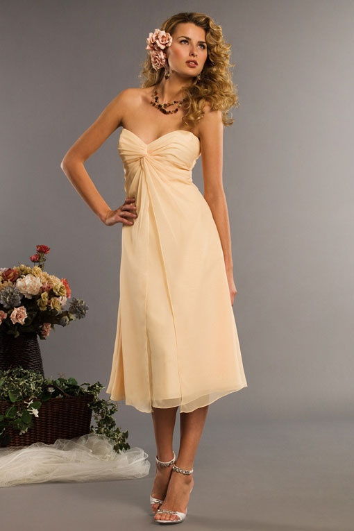 Sweetheart A-line with ruffle embellishment chiffon bridesmaid dress: Style, Wedding Ideas, Bridesmaiddresses, Sweetheart, Wedding Dress, Aline, Tea Length, Chiffon Bridesmaid Dresses