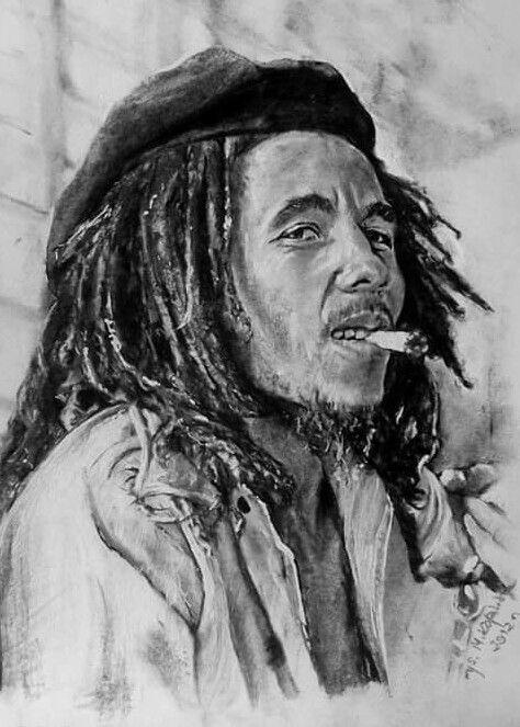 Bob Marley. węgiel. A4