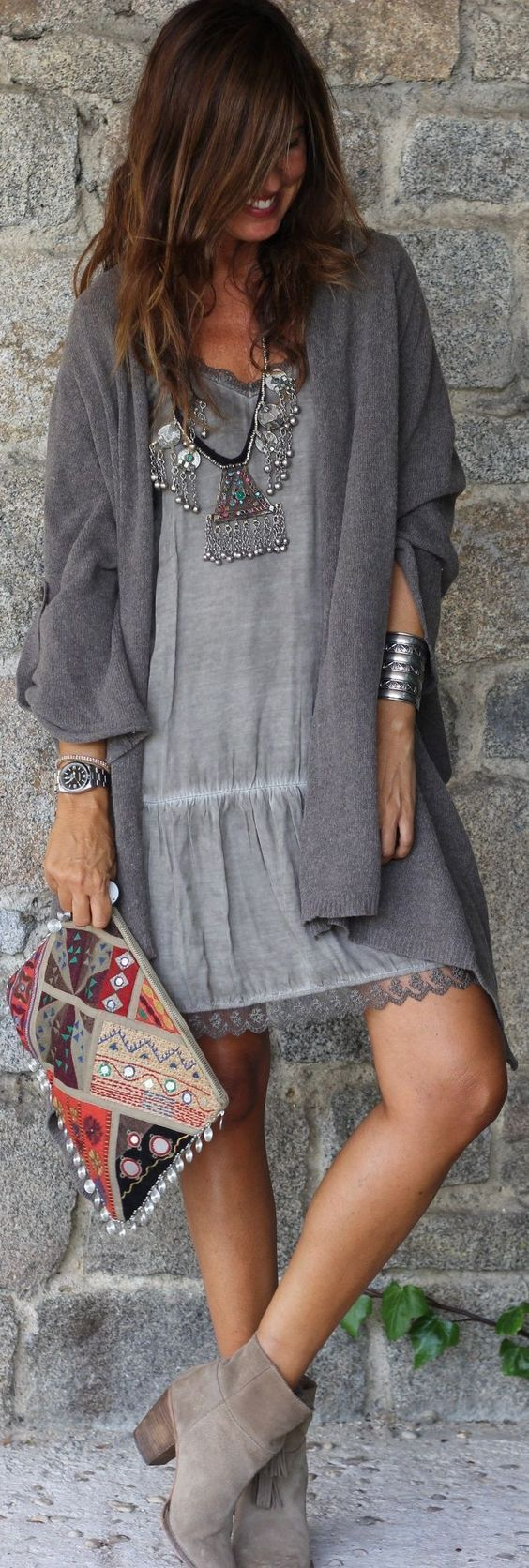 Grey Boho Dress   Cardigan