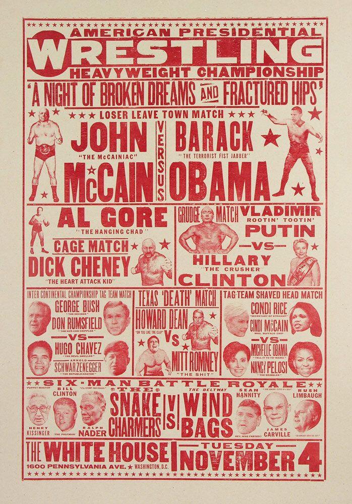 Presidential Wrestling Art Print by ChurchofType on Etsy https://www.etsy.com/listing/181814259/presidential-wrestling-art-print