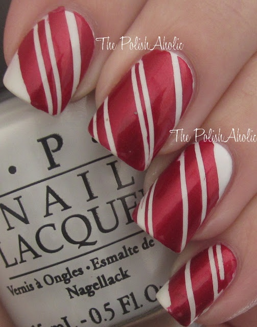 The PolishAholic: NOTD: Candy Cane Nails + Tutorial
