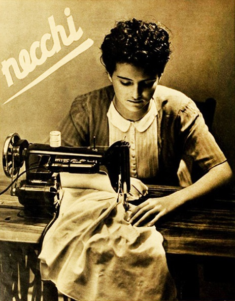 Necchi sewing machine ad, 1940  I have a modern one and love it.