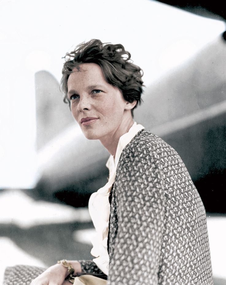 Amelia Earhart. (Colorized Photo).