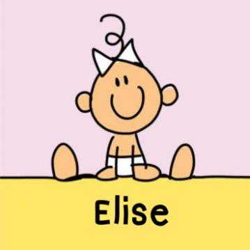 Getekend geboortekaartje baby meisje met strikje. Vrolijk getekend geboortekaartje met breed lachend baby meisje met een leuke strik. Binnenin diverse speelgoed en de naam en geboortegegevens in een gele rozet op lichtroze achtergrond.