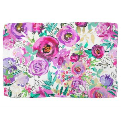 Purple Pink Bright Colorful Modern Floral Pattern Hand Towel - rustic gifts ideas customize personalize