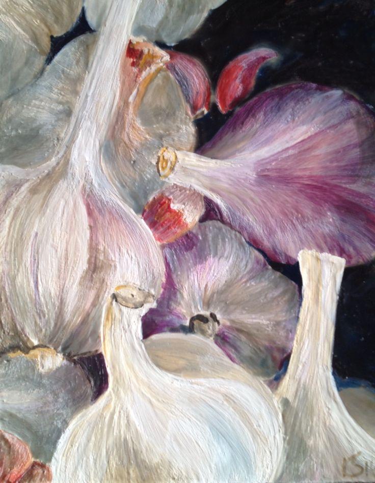 Encaustic painting of garlic.