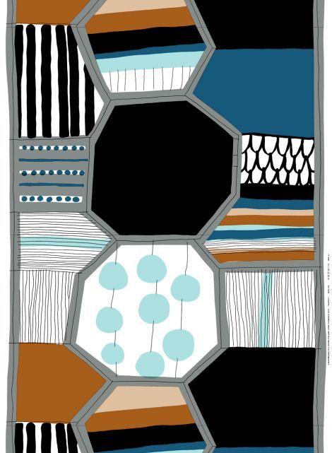 Taapeli fabric (white, grey, l.turquoise) |Fabrics, Cottons | Marimekko
