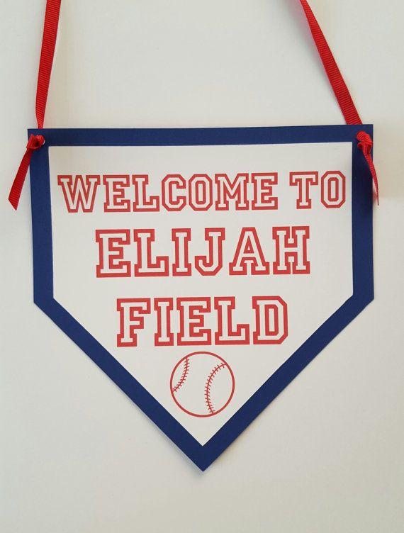 Baseball door sign home plate door sign by ThePaperPropShop