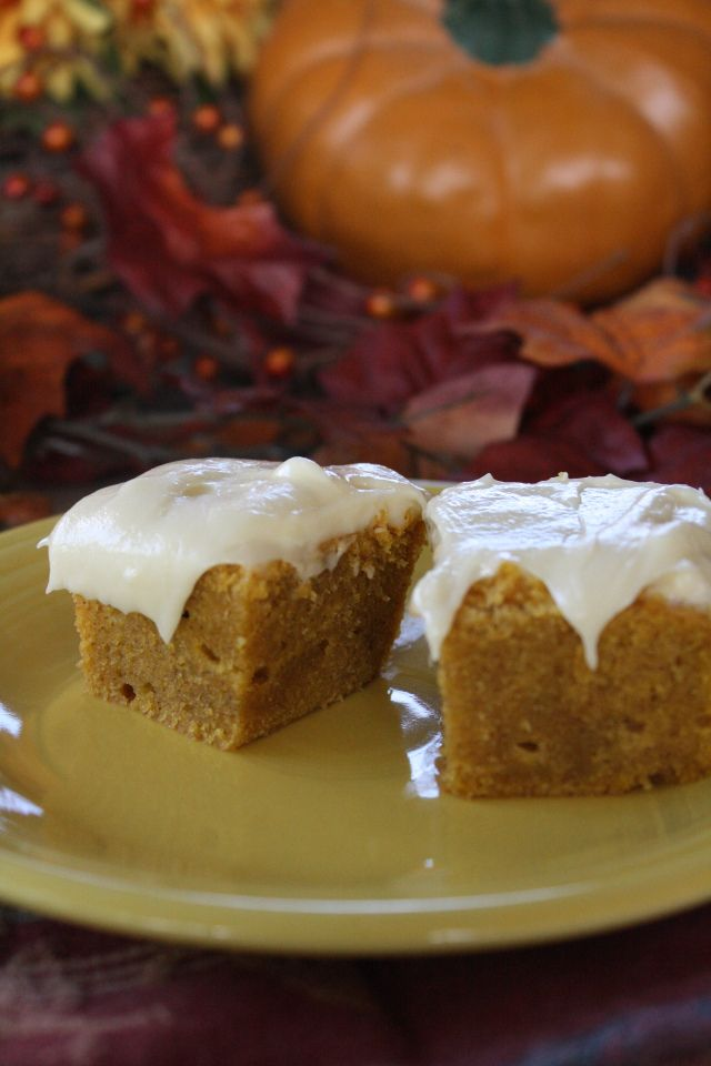 Pumpkin brownies with cream cheese frosting - YUM! Works well with ...