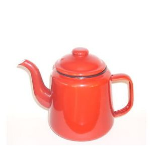Falcon Enamel Tea Pot Red 12cm. Sturdy enamel tableware range, for all occasions. Vitreous double coated enamel. Free Delivery on orders over £50.00.