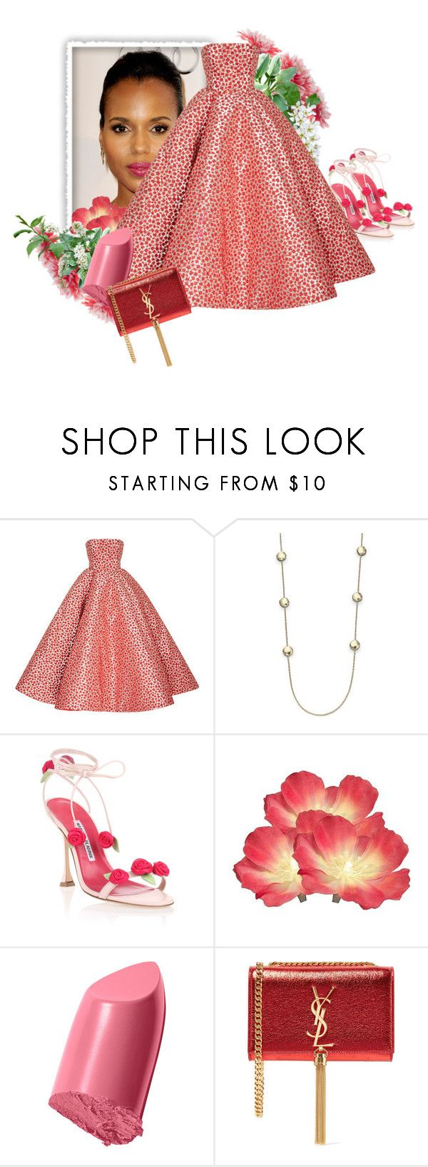 """""""When You Invite Miss Washington To A Pink Party"""" by the-house-of-kasin ❤ liked on Polyvore featuring Oscar de la Renta, Ippolita, Manolo Blahnik, Bobbi Brown Cosmetics, Yves Saint Laurent, pinklips and gownsgalore"""