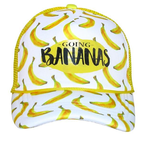 this fun banana print baseball cap is a great item to have this spring summer it features an adjustable snap cl banana print san diego hat company trucker hat pinterest