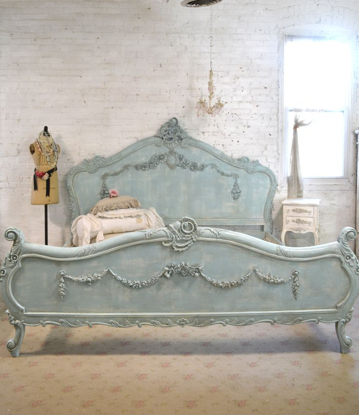 French Bed Painted Cottage Shabby Chic Romantic Bed Queen / King