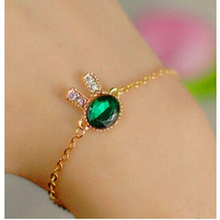 2016 Fashion Jewelry Cute Bunny Rhinestone Charm Bracelets & Bangles Blue Glass Bracelets For Women Gift Pulseira Feminina