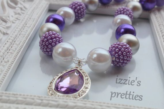 Sofia the First Inspired Chunky Necklace, Purple Silver Pearl Beaded Necklace, Gumball Necklace #purple #izziespretties https://www.etsy.com/listing/187660504/sofia-the-first-inspired-chunky-necklace?ref=shop_home_active_191