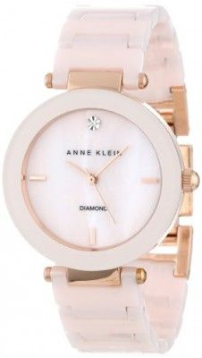 Relógio Anne Klein Women's AK/1018RGLP Diamond Dial Rose Gold-Tone Light Pink Ceramic Bracelet Watch #Relogio #AnneKlein