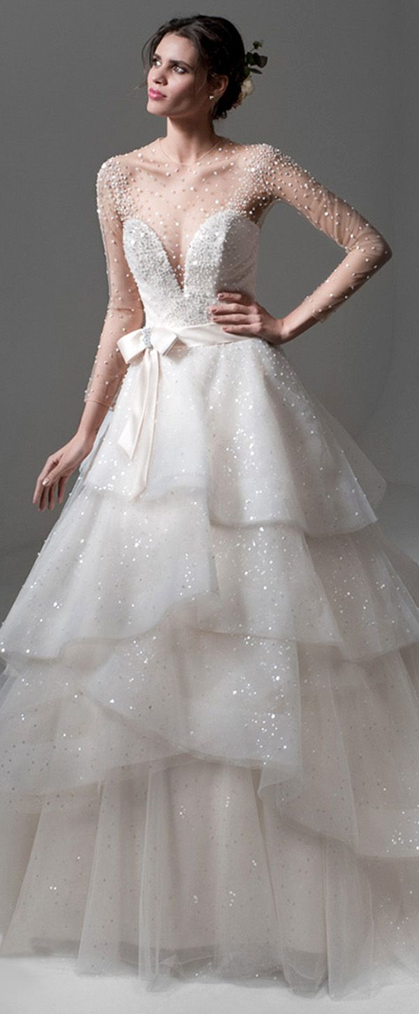 Sparkling Tulle & Satin Jewel Neckline A-line Wedding Dresses With Beadings