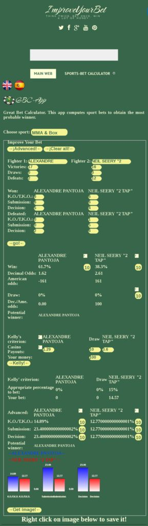 UFC fight night 113 forecast predictions and picks ALEXANDRE PANTOJA Vs NEIL SEERY 2 TAP