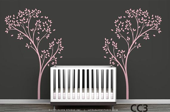 """The Tree Canopy is another version of our """"Tree Canopy Portal"""" wall decal, which resembles the doorway to a meaningful presence. The mirrored trees can also be applied far away from each other, creating the perfect ambiance to encompass the cribs of twin babies.        *You might also like: • Tree Canopy Portal: http://www.etsy.com/listing/89718275    • Vineyard Canopy Sticker: http://www.etsy.com/listing/89719161  • Tree Canopy Bed Headboard Wall Sticker…"""