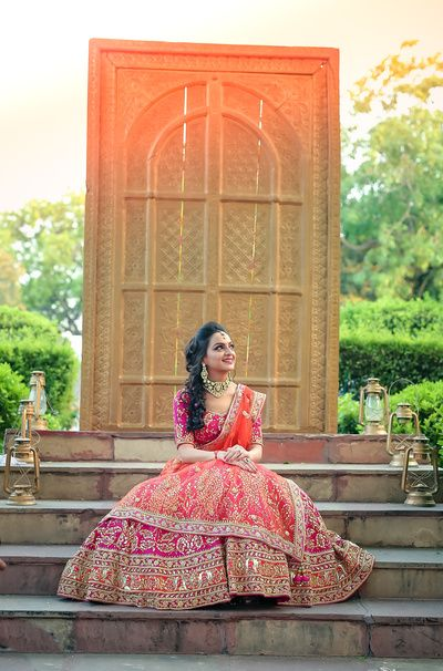 pink and orange lehenga, coral and orange lehenga, bridal lehenga with zardozi…
