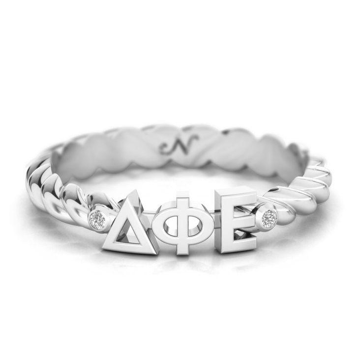 Delta Phi Epsilon Silver Pavé Twist Letter Ring #argentium-silver #delta-phi-epsilon #rings