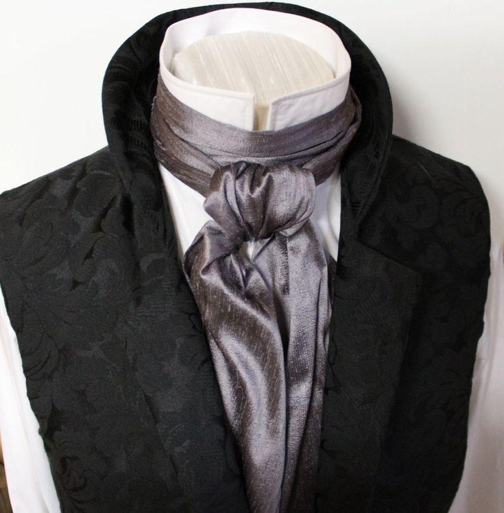 regency cravat in grey silk