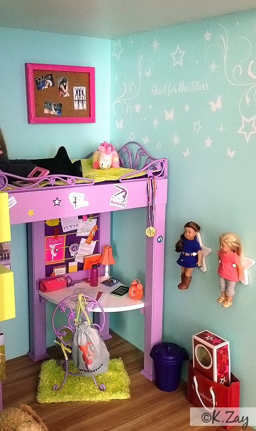 American Girl Mckenna's Bedroom by Kim Zay  www.AGDesignCraftCreate.blogspot.com  American Girl Mckenna Bedroom Dollhouse Loft Bed Vinyl Wall Decal