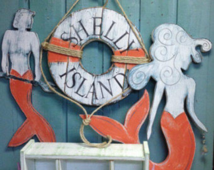 Señal de sirena de la pared arte con cristal playa casa vida costera decoración por CastawaysHall