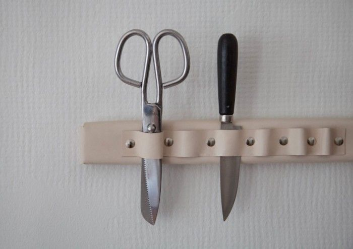Wall-Mounted Leather Knife Rack