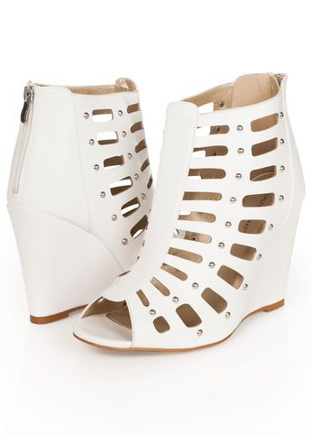 Ashley Stewart Web Exclusive Faux Leather Gladiator Wedge Booties