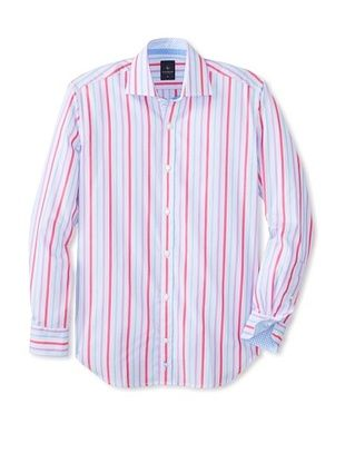 65% OFF TailorByrd Men's Wedge Long Sleeve Multi Striped Classic Sportshirt (Peri Blue)