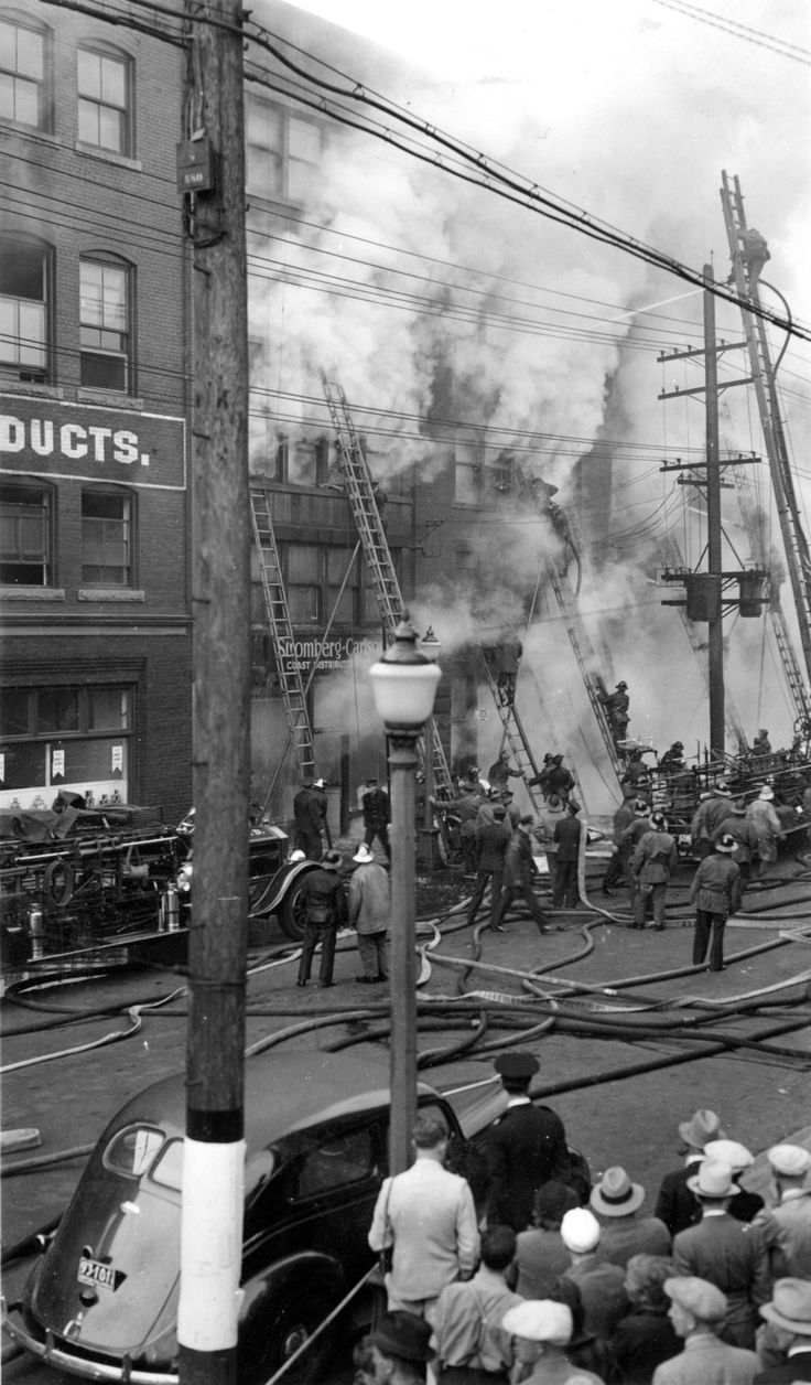 Fire on the 1100 block of Homer Street, 1938 Hi rez. Source: Photo by Gordon Audrey, City of Vancouver Archives #376-59