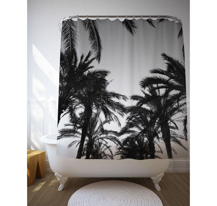 black and white palm trees shower curtain tropical shower art beach house decor