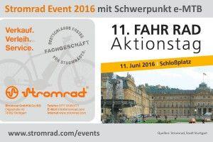 Stromrad Stuttgart auf den 11.Stuttgarter FahrRad Aktionstagen mit Schwerpunkt sportliche eBikes, eMTB, eCross am 11.06.2016 auf dem Schloßplatz