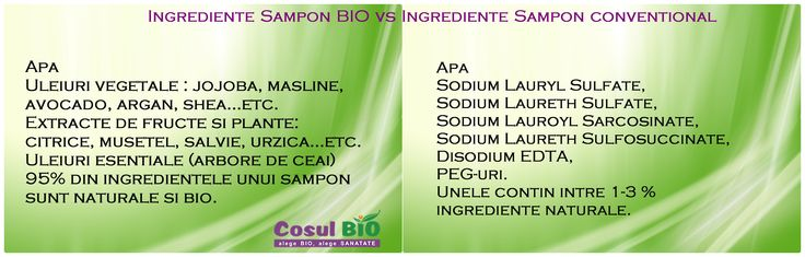 Ingrediente Sampon BIO vs Ingrediente Sampon conventional