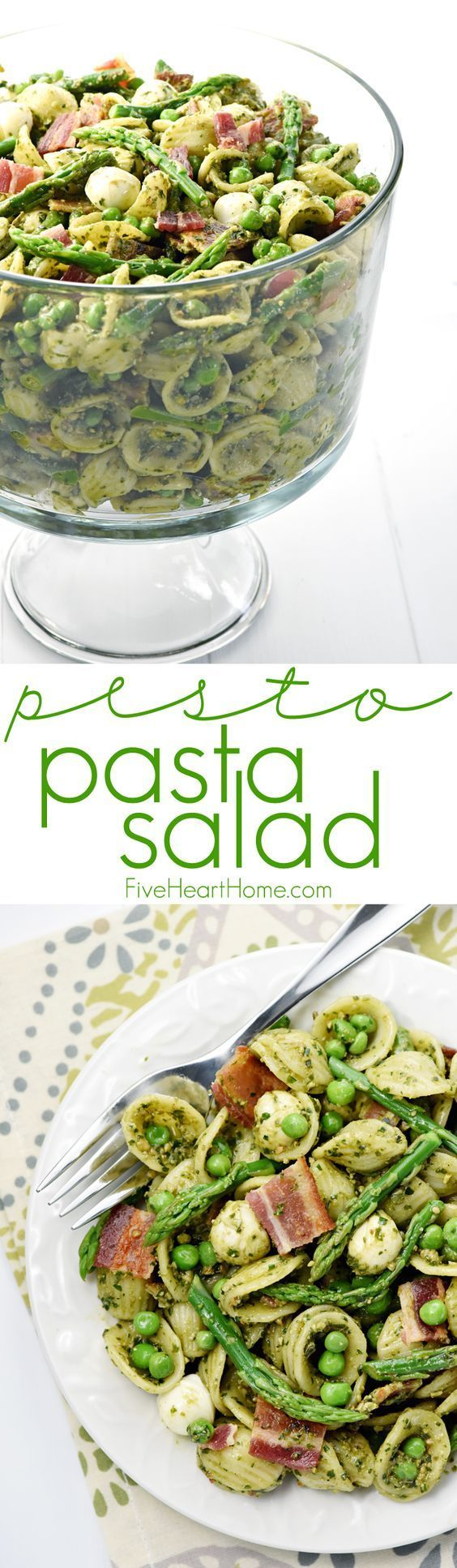 Pesto Pasta Salad ~ studded with bright green asparagus, sweet peas, decadent bacon, and fresh pearls of mozzarella, this pasta salad is a flavorful side dish or light dinner, perfect for spring and summer celebrations! | http://FiveHeartHome.com