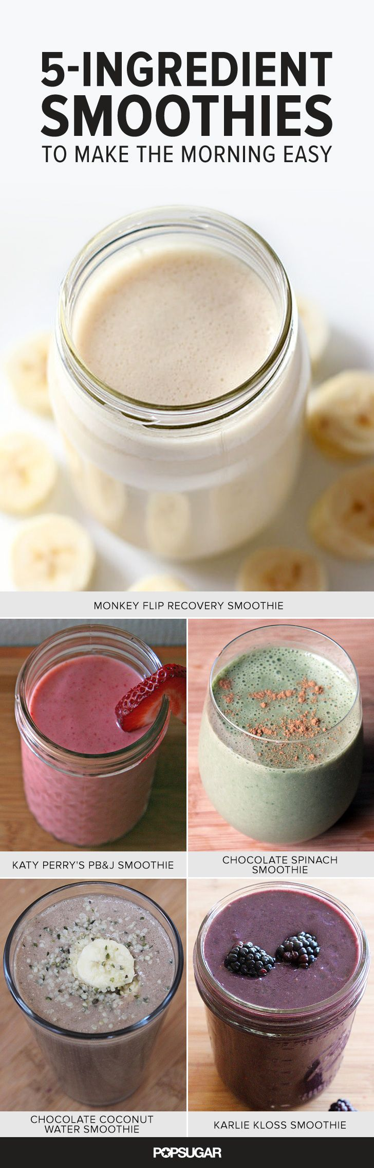 Here are some of our favorite smoothie recipes that keep breakfast easy with five ingredients of less! They're the ultimate satisfying and refreshing breakfast.