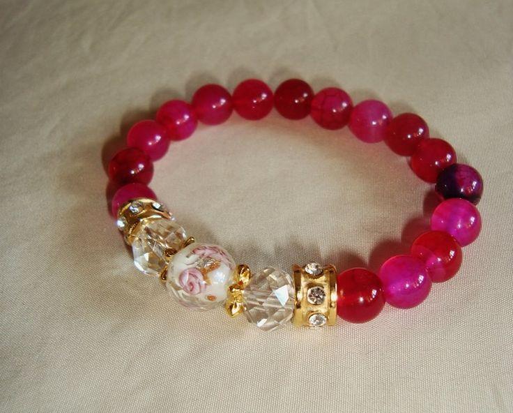 pulseira de ágata pink com cristais