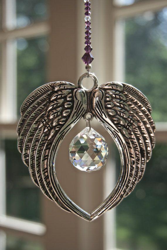 Crystal Suncatcher ANGEL WINGS with 20mm Swarovski Crystal Ball, Guardian Angel Window Prism, Swarovski Crystal Ornament, Memorial Gift