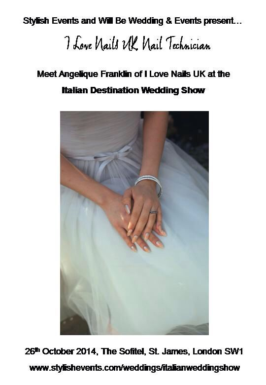 Meet Angelique Franklin of I Love Nails UK at the Italian Destination Wedding Show on 26th October 2014, The Sofitel, St. James, London SW1 www.stylishevents.com/weddings/italianweddingshow  Wedding manicure