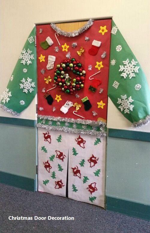 New Christmas Door Decoration #christmasdoordecor - 15 Most Creative Christmas Door Themes: 1.Green & Maroon Door