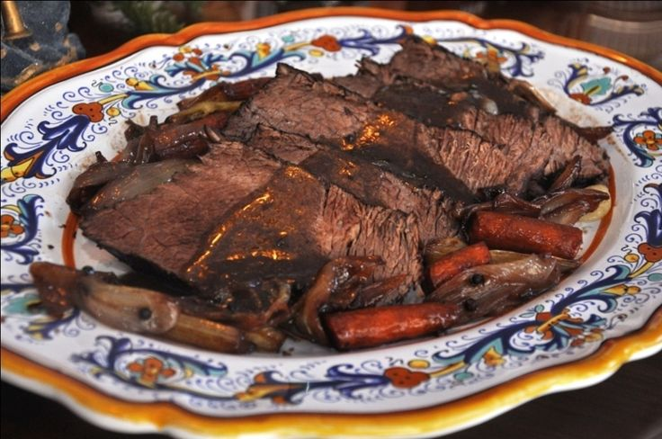 There's nothing like a good pot roast on a cold winter's day! Though it may come as a surprise to some, Italians also make pot roast, which is known variously as brasato or stracotto, but with a 'continental' twist: the favorite cooking medium for Italian pot roast is red wine.