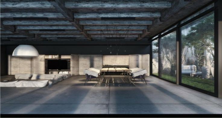 A home design industrial style with see through floors , a bonfire and a well filled sofa pit.