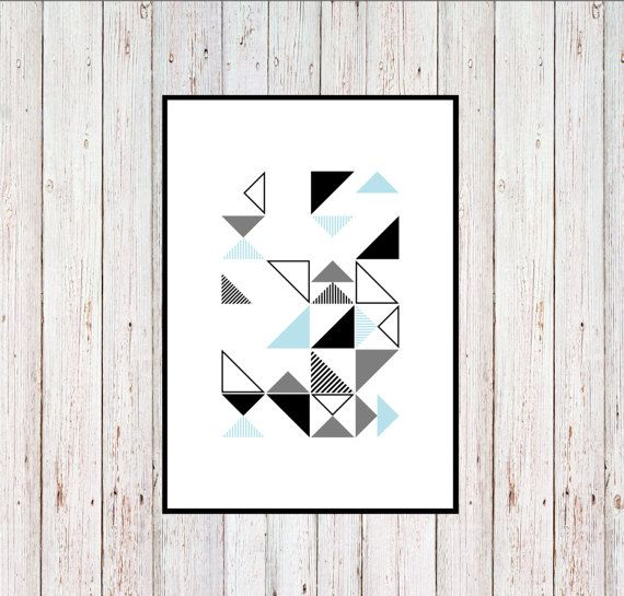 Blue Triangles Printable Geometric Printable by KYLprintable