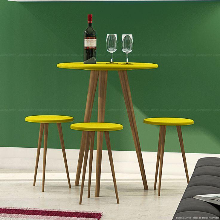 Conjunto para Sala de Jantar com Mesa Bistrô e 3 Banquetas em Madeira Maciça Amarelo/Castanho - Urbe Móveis | Lojas KD
