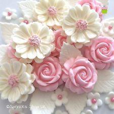 blush roz de trandafiri albi comestibilă Paste zahăr Flori Decoratiuni nunta Torturi Cupa