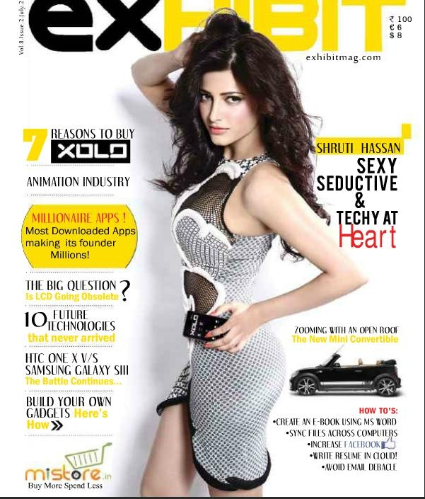 Shruti Hassan on The Cover of Exhibit Magazine India July 2012. | Bollywood Cleavage