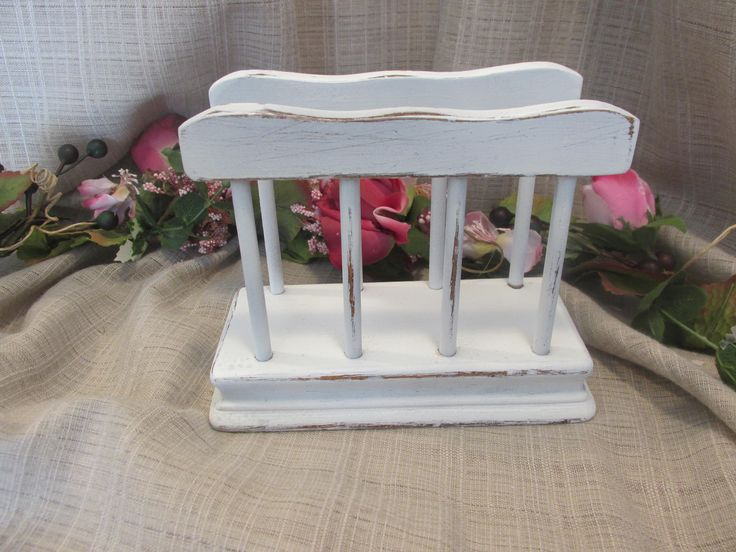 Lovely, Upcycled, Solid Wood, Cottage Chic, French Country, Beach Cottage, Country Farmhouse, Napkin Holder by ClassicMontage on Etsy
