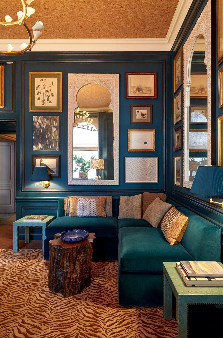 blue velvet, and teal blue velvet in Markham Roberts Gentleman's Study at the 2014 Kips Bay Showhouse